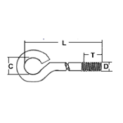 Eye Bolt,Closed<br />(DxLxCxT) by Delta Fastener